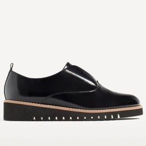 Zara stretch Platform Patent Leather Bluchers